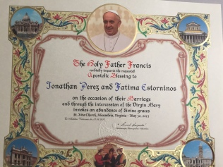 Our Papal Marriage Blessing on parchment
